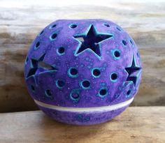 "moon & stars tealight candle holder * purple * 3"" tall"