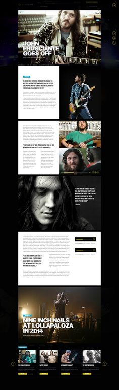 the use of white text with the dark images is really nice.  the title for the nine inch nails stands out and the pull out quote for the one image.