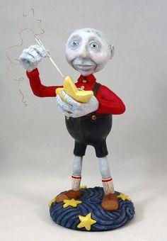 Moon man with stars art doll sculpture OOAK TDozier. $225.00