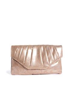 New Look Tempest Metallic Flapover Clutch Bag