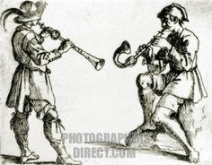 Drawing of Renaissance musicians playing ( L ) shawm and ( R ) crumhorn