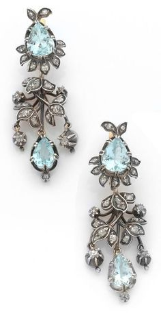 Rosecut Antique Cut Diamond .925 Silver Bridal & Wedding Party Jewelry Vintage Turquoise Earring 3.60ct