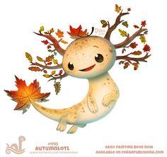 Daily Paint Atumnlotl by Cryptid-Creations on DeviantArt Cute Food Drawings, Cute Animal Drawings Kawaii, Kawaii Art, Cute Fantasy Creatures, Mythical Creatures Art, Cute Creatures, Illustration Inspiration, Creature Drawings, Dibujos Cute