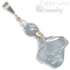 Blue Celestite Crystal Point Wire Wrapped Pendant in Sterling, Artisan Handmade #PuppyLoveJewelry #wirewrappedpendant