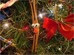 Rudolph Ornament 2 clothes pins, a small pompom and googly eyes ... love it