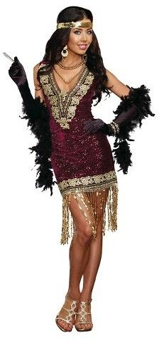 Women's Sophisticated Lady  Flapper Girl Costume OSFM