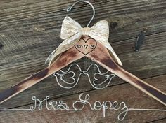 LOVE BIRDS Wedding / Rustic Bride Hanger / Shabby Chic Bridal Hanger / Brides Hanger / Distressed Hanger / Rustic Wedding Hanger