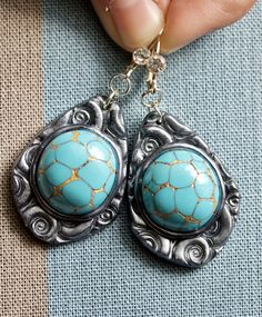 Turquoise Stone Earrings Silver Plated Polymer Clay Artist Earrings Blue Golden Earrings Artisan Jewelry Turquoise Stone Imitation Clay by InasArtStore on Etsy