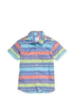 J Khaki   Oxford Stripe Woven Shirt Boys 4-7