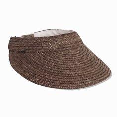 Scala Straw Braid Large Brim Sun Visor Hat in Brown Dorfman Pacific. $29.99