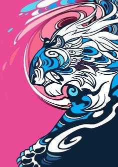 Whirlwind Tiger Art Print Looks a bit like Inkie graffiti artist