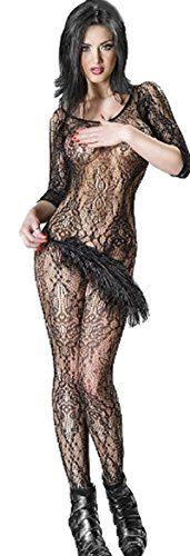 Bodystocking CR3234 Damen-Body in schwarz Netz Body aus Spitze von Chilirose Dessous