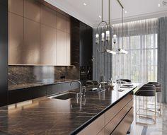 Black&Bronze Kitchen on Behance Modern Villa Design, Modern Kitchen Design, Interior Design Kitchen, Luxury Home Decor, Luxury Interior Design, Luxury Homes, Elegant Kitchens, Luxury Kitchens, Küchen Design