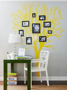 "Family Tree        Add unique flair to a basic arrangement of photos with a tree motif. Achieve the silhouette with a wall decal, a stencil, or by freehand painting. Hang family pictures in the ""branches"" for a whimsical and fun look."