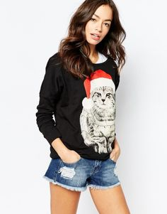 Ladies Novelty Christmas Jumper with Cat Design #noveltyxmasjumpersuk