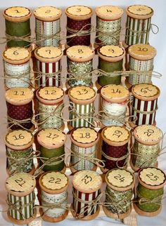 Vintage Thread Spool Advent Calendar ---but do it with canning jars and treats inside!
