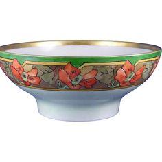 Haviland Limoges Arts & Crafts Nasturtium Motif Centerpiece Bowl (Signed/Dated 1911)