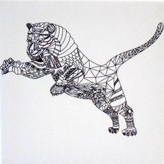 #Tangle #Bilderrahmen Springender Tiger Limited Edition