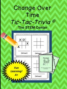 Change Over TimeThis is a familiar game with a trivia twist. Playing this game is a great way for students to learn or review science vocabulary dealing with Change Over Time.YOU WILL WANT TO CHECK THIS OUT!:Physical Sciences BundleLife ScienceEarth Sciences BundleALL Sciences Bundle!Connect with the STEM CenterBe sure to follow my TpT store by clicking on the Green Follow Me Star next to the STEM Center  icon to receive notifications of new products and upcoming sales.