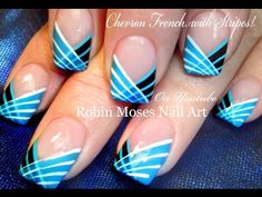 DIY Simple Striped Nails Design How to Paint with a Striping Brush Nail Art Tuto … - Nail Design Diy Nail Art Stripes, Chevron Nails, Striped Nails, Blue Nails, Blue Stripes, Blue Chevron, Striped Nail Designs, Cute Nail Art Designs, Nail Art Inspiration