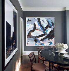 CZ Art Design @CelineZiangArt- Palette Knife abstract painting Contemporary Art, blue, pink, black, etc.