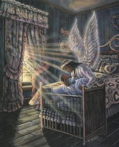 Angel loving on baby. Prophetic art.
