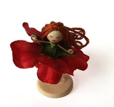 NEW  Miniature Red Rose Flower Fairy by by OliviasFlowerFairies, $7.00