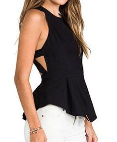 7e4e9887195b2 OURS Womens O-neck Backless Sexy Tank Top Vest Sleeveless Chiffon Blouse  Crop Top Shirts