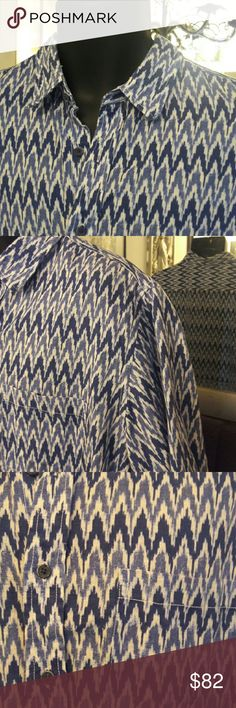 TASSO ELBA Island Casual Shirt This awesome Tasso Elba Island casual shirt is a reason to go on a tropical vacation. A wonderfully cool blue and white graphic print linen-cottin blend fabric. XL size. In great, gently-used condition. Tasso Elba Shirts Casual Button Down Shirts