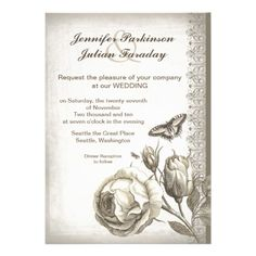 """vintage rose wedding invitation vintage rose drawing with butterflies - beautiful wedding invitations design. I suggest the """"Linen"""" or """"Felt"""" paper for this design."""