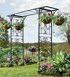 Iron Garden Arbor With Hanging Baskets
