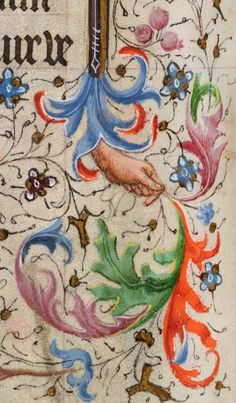 Hand holds leaves | Book of Hours | France, Provence | ca. 1440-1450 | The Morgan Library & Museum