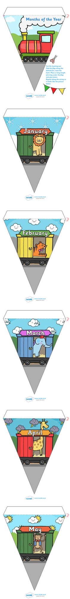 Twinkl Resources >> Months of the Year Animal Train on Bunting Weather Background  >> Classroom printables for Pre-School, Kindergarten, Elementary School and beyond! Buntings, Weather, Calendar, Seasons, Class Management