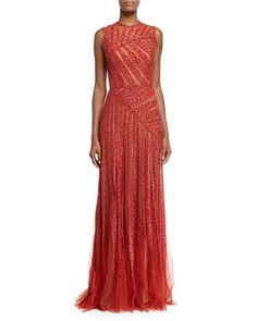 Sleeveless Linear-Beaded Gown, Cadillac by Elie Saab at Neiman Marcus.