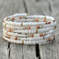Summer White Boho Wrap Bracelet by HoleInHerStocking on Etsy Memory Wire Jewelry, Memory Wire Bracelets, Handmade Bracelets, Jewelry Bracelets, Handmade Jewelry, Wrap Bracelets, Earrings Handmade, Bracelet Fil, Bracelet Making