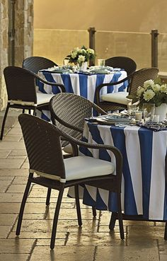Give them an affair to remember with our Cafe Collection flourished in crisp linens and stunning outdoor tableware.  | Frontgate: Live Beautifully Outdoors