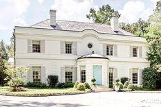Home Renovation: Exterior Paint — Blue Door Living Front Door Paint Colors, Exterior Paint Colors For House, Painted Front Doors, Paint Colors For Home, White Shutters, House Shutters, Villa, Exterior Shutter Colors, Exterior Shutters