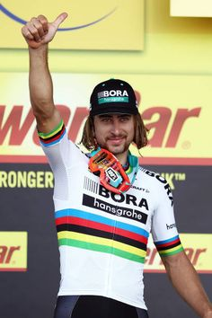 Peter Sagan of Slovakia and team BoraHansgrohe celebrates victory on the podium following stage 3 of the 2017 Tour de France a 2125km road stage from...