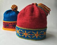 A Stranded Color Work Band in a rich and saturated palette, shown here with a folded hem that encases the back of the color work and with a rolled brim.