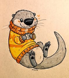 twelvepapercranes Sweater otter for Inktober 30 - New Ideas Cute Animal Drawings, Animal Sketches, Cute Drawings, Drawing Sketches, Drawing Animals, Cartoon Drawings, Cartoon Art, Otter Cartoon, Otters