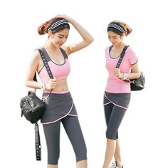Cheap yoga set, Buy Quality yoga yoga directly from China sport yoga set Suppliers: Yoga Pants Women Fitness Gym Sport Leggings Running Training Clothes Quick Dry Breathable Stretch Well Ladies Yoga Set 3 Pieces Modest Summer Fashion, Boho Summer Outfits, Summer Fashion For Teens, Stylish Outfits, Athletic Outfits, Sport Outfits, Leggings Are Not Pants, Hot Yoga Wear, Hoodies