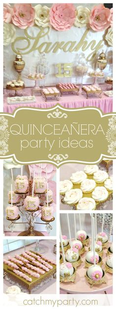 Take a look at this beautiful Quinceañera. The floral back drop is amazing!! See more party ideas and share yours at CatchMyParty.com