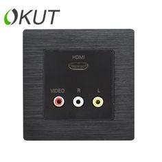 A8-033 HDMI + 3RCA plug-in socket AV audio and video HDMI HDTV 3D wall plug