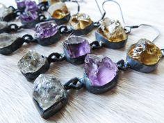 Amethyst earrings  Citrine earrings  Herkimer Diamond by BeijoFlor