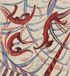 Cyril E. Power, English, 1872–1951, Acrobats, about 1933, Color linocut - artist best known for his linocut prints, long-standing artistic partnership with Canadian artist Sybil Andrews and for co-founding The Grosvenor School Of Modern Art in London in 1925. He was also a successful architect and teacher.(http://en.wikipedia.org/wiki/Cyril_Power)
