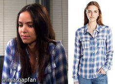 I'm a Soap Fan: Ciara Brady's Blue, White and Pink Plaid Shirt - Days of Our Lives, Vivian Jovanni, #DaysofOurLives Wardrobe, Clothes worn on #DOOL http://imasoapfan.blogspot.com/2016/10/ciara-bradys-blue-white-and-pink-plaid-shirt-days-of-our-lives.html