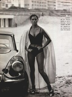 Citroën DS & Carre Otis (She lets Vogue.com.au in on the truth about airbrushing, starvation, yellow teeth and sexual abuse…) [photo Peter Lindbergh for Vogue Italia, 1/1990]