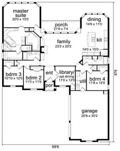 Traditional   House Plan 87975 - like placement of bedrooms, don't like garage in front, need a family room & porches