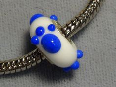 European glass bead PSU cat paw blue and white glass big hole 1512 #European