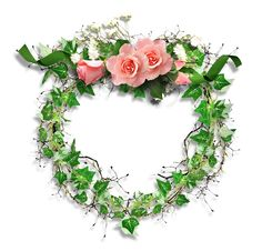 Transparent Frame Leaves and Roses
